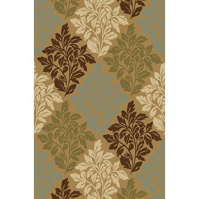Bradford Floral Natural Non-skid Rug (3'3 x 5'3)