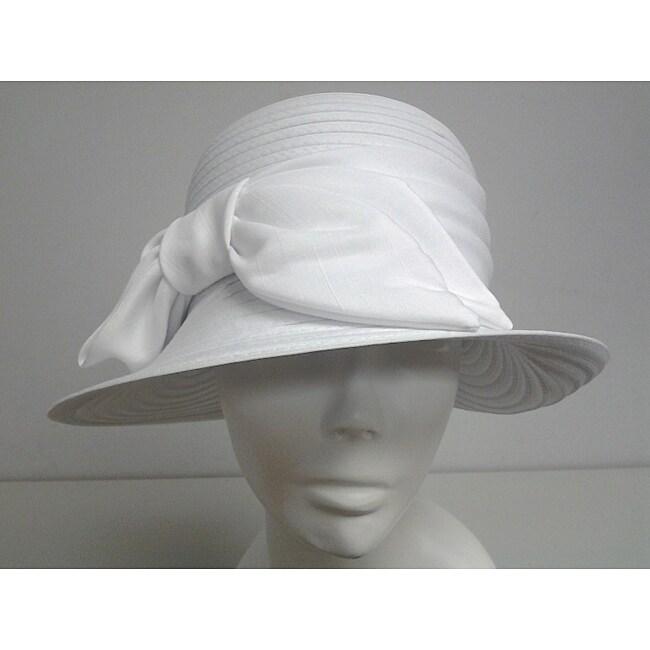 Swan Women's White Satin Bow Crushable Bucket Hat
