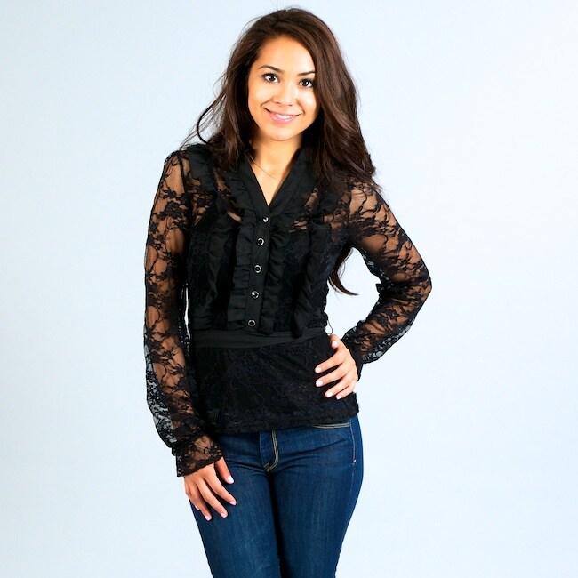 Think Knit Junior's Black Lace Long-sleeve Shirt