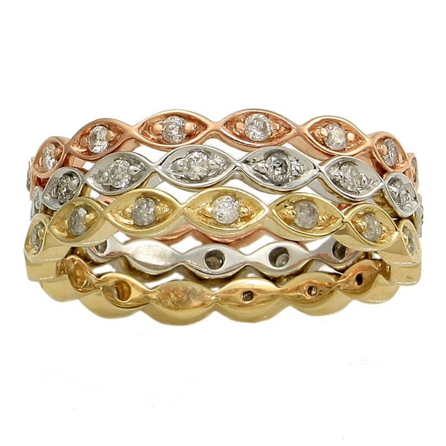 Eziba Collection 10k 3-tone Gold 3/5ct TDW Diamond Stackable Eternity Band Ring (Set of 3) (H-I, I2) at Sears.com