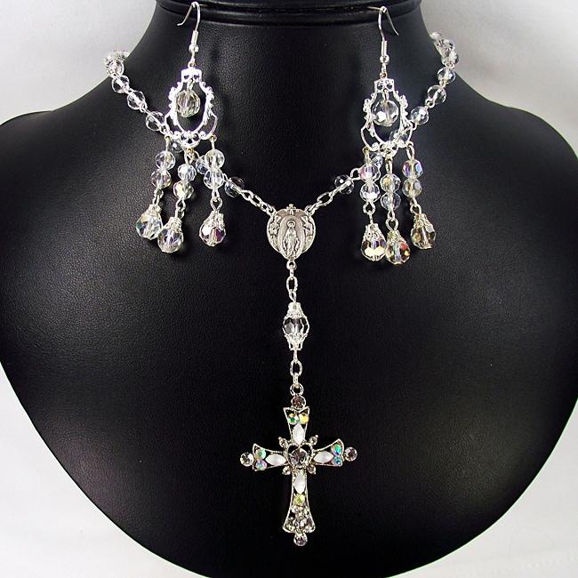 Clear Crystal Catholic Wedding Jewelry Set