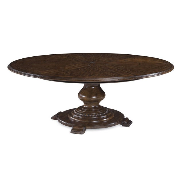 Pin Expandable Round Dining Table Double Pedestal Dining Table 54285