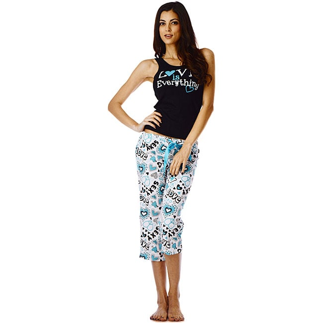 Stanzino Women's 'Love' Turquoise Tank and Capri Pajama Set