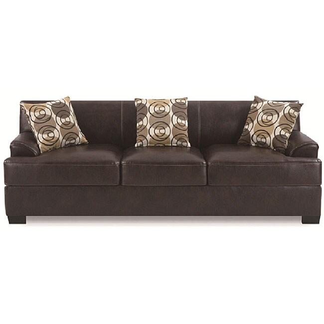 Espresso Bonded Leather Sofa