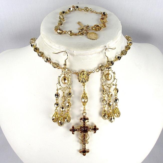 Gold crystal 6 mm Catholic Wedding Jewelry