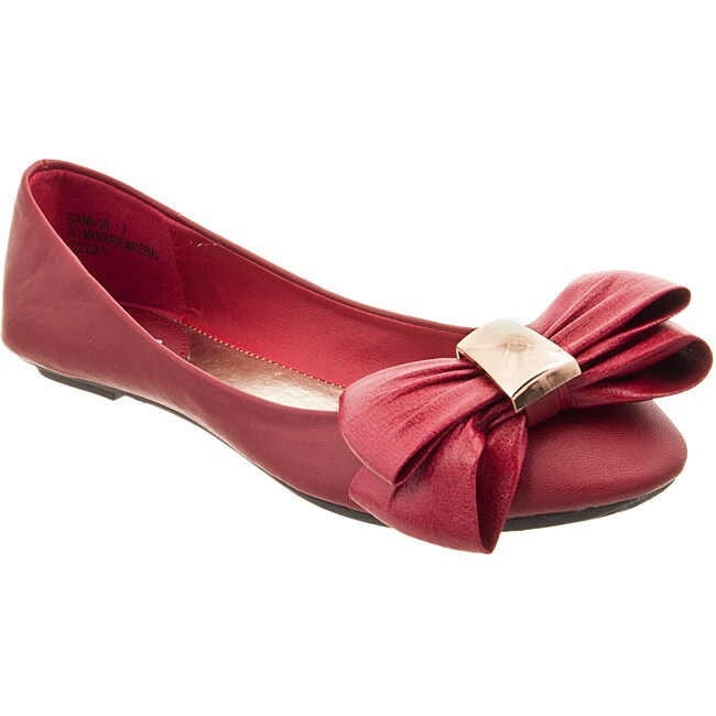 Riverberry Women's 'Sami' Red Bow-front Ballet Flats