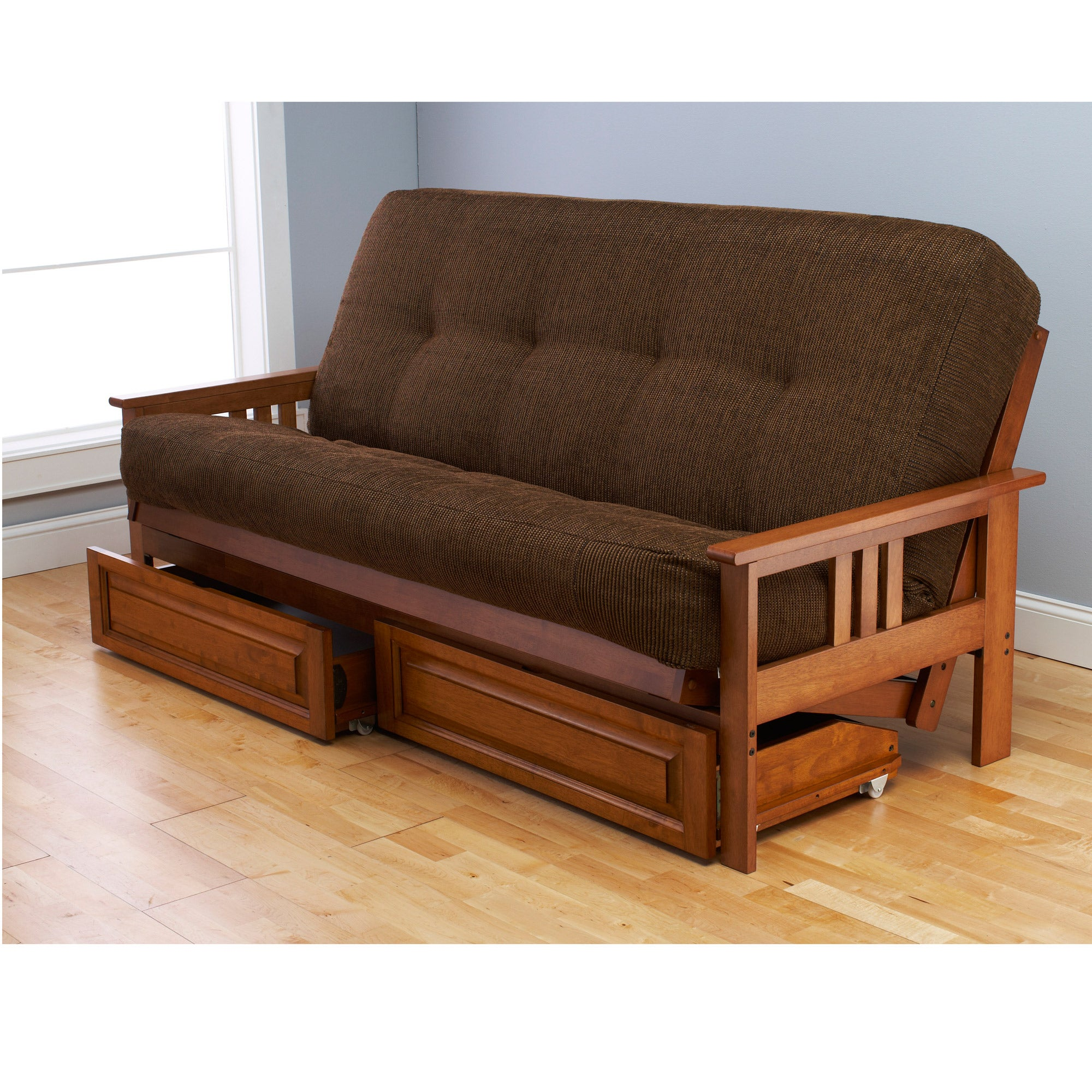 Somette Beli Mont Multi-flex Honey Oak Futon Frame, Drawers and Mattress Set