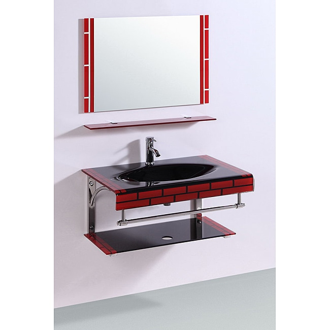 AT HOME by O Legion Furniture Tempered GlassTop 32-inch Single Sink Bathroom Vanity with Mirror at Sears.com