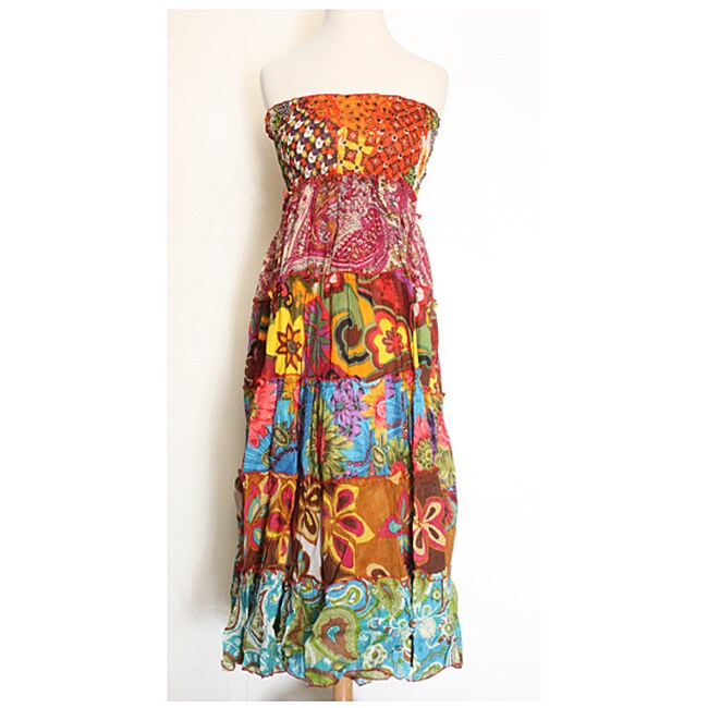 Colorful Tiered Tube Dress (Nepal)