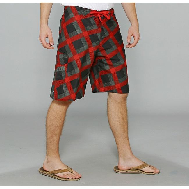 Zonal Men's 'Content' Black/ Red Plaid Boardshorts