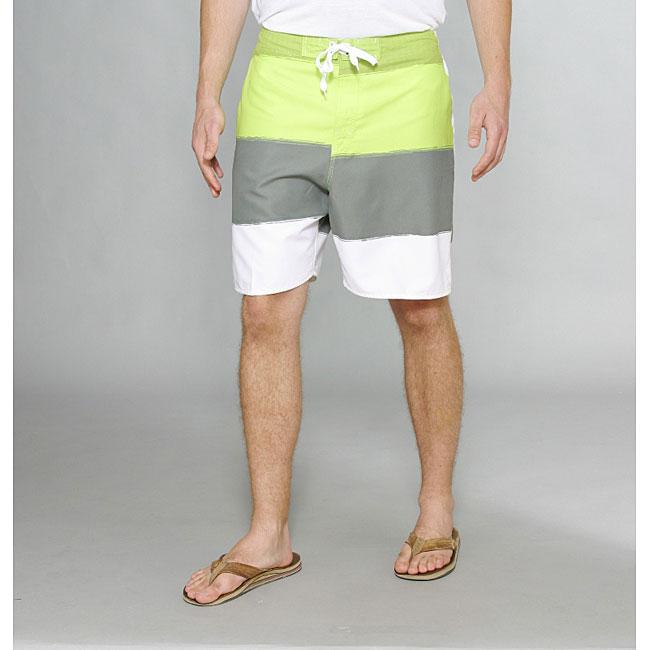 Zonal Men's 'Word E-Board' Green/ Grey Swim Shorts