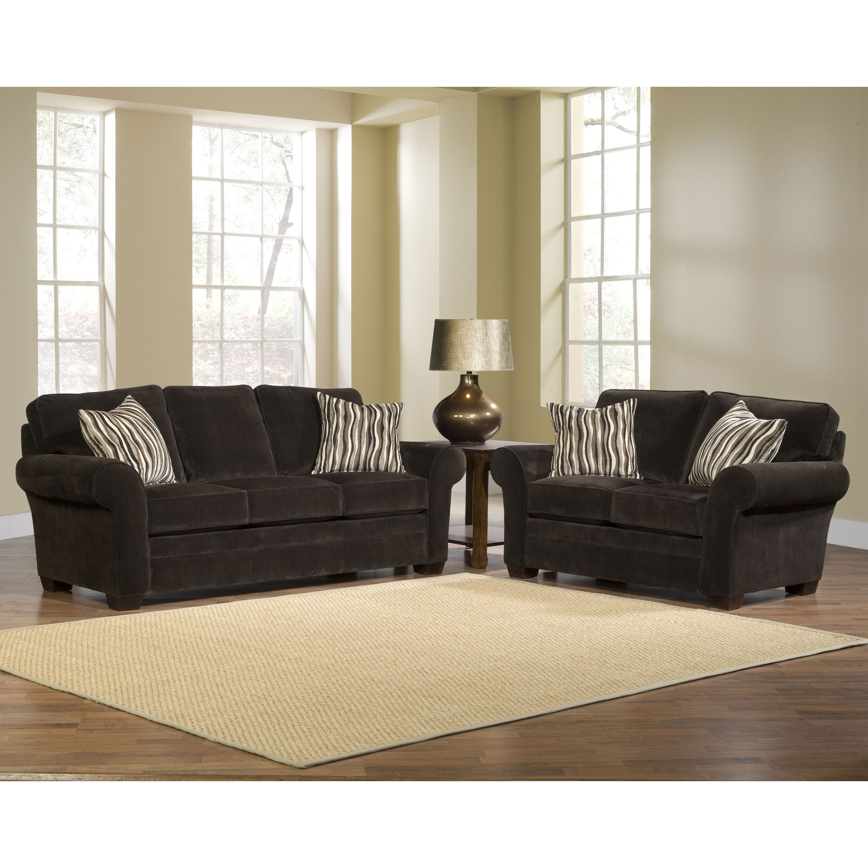 Broyhill Zoey 2-piece Dark Chocolate Sofa/ Loveseat/ Pillows Set
