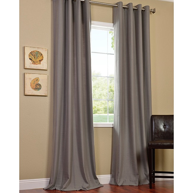 Cotenza Steel Grey Faux Cotton Grommet Curtain Panel