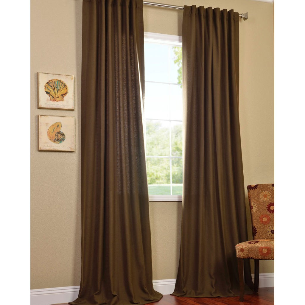 Cocoa Faux Cotton Cotenza Curtain Panel