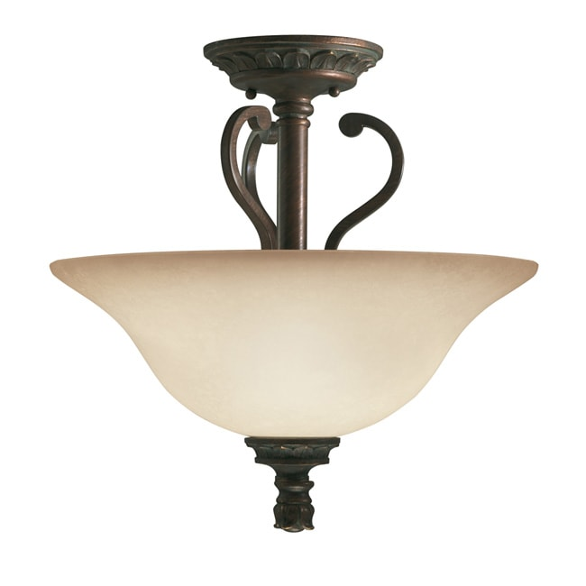 Transitional 3-light Golden Bronze Semi-flush Light