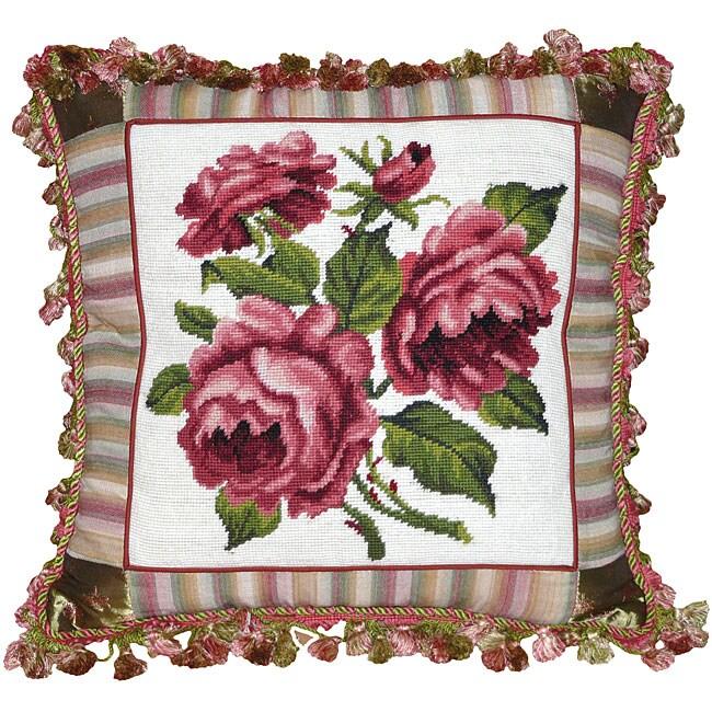 Rose Needlepoint Decorative Throw Pillow