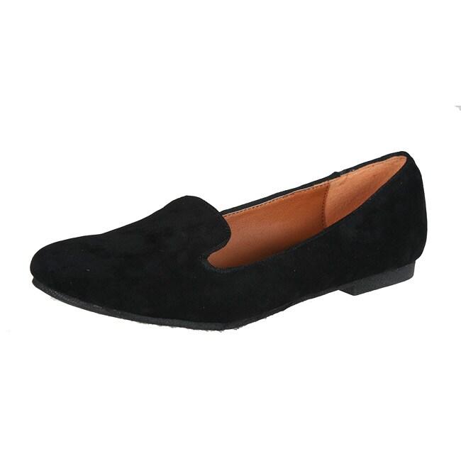 Refresh by Beston Women's 'Belin-03' Black Suede Flats