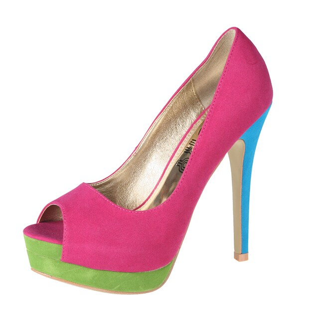 Refresh by Beston Women's 'Paige' Fuchsia Peep-toe Pumps