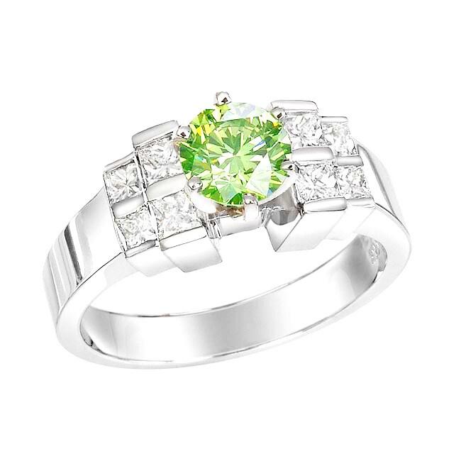 14k White Gold 1-1/2ct TDW Green Diamond Ring (Size 5.5)