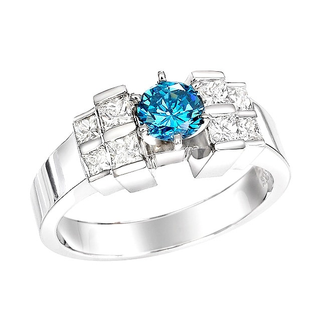 14k White Gold 1-1/10ct TDW Blue Round and Princess Diamond Ring (Size 5)