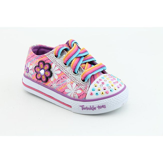 Twinkle Toes By Skechers Girl's S Lights-Shuffles-Dashing Daisy Pink Casual Shoes (Size 5)