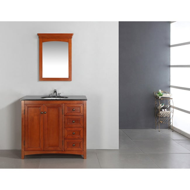 AT HOME by O Windsor Cinnamon Brown 36-inch Bath Vanity with 2 Doors and Black Granite Top at Sears.com