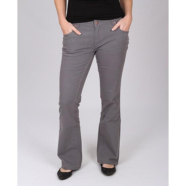 Dickies Women's Grey Slim-fit Canvas Bootcut Pant