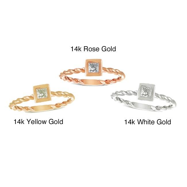 14k Gold 1/4ct TDW Princess Cut Diamond Stackable Ring