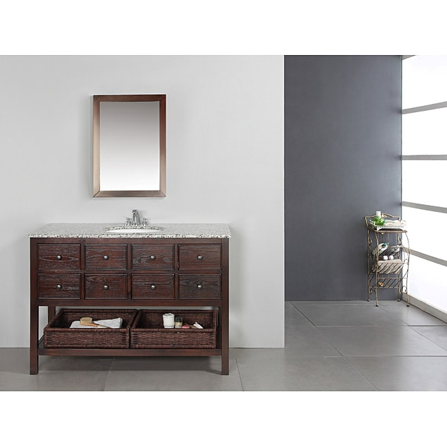 AT HOME by O New Haven Walnut Brown 48-inch Bath Vanity with 2 Drawers and Dappled Grey Granite Top at Sears.com
