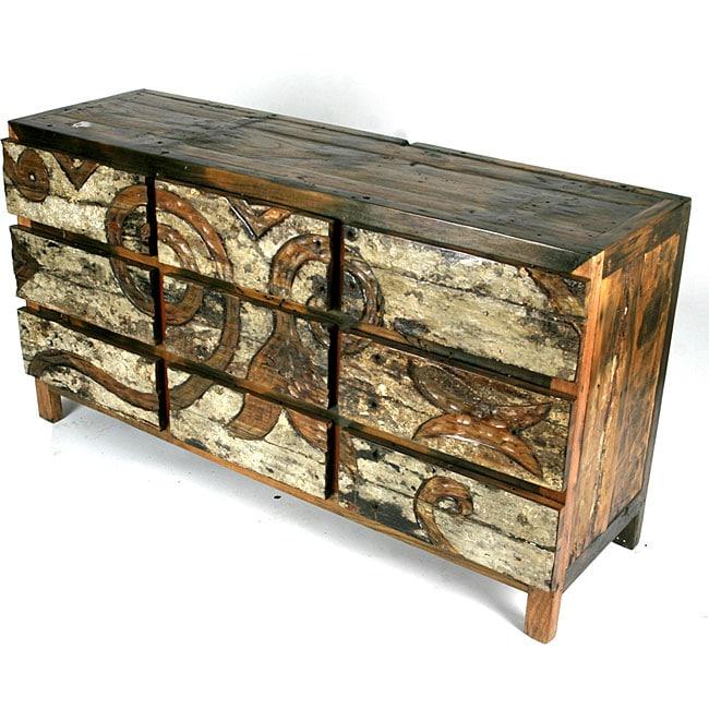 Ecologica Hand Carved Dresser Nine Drawers