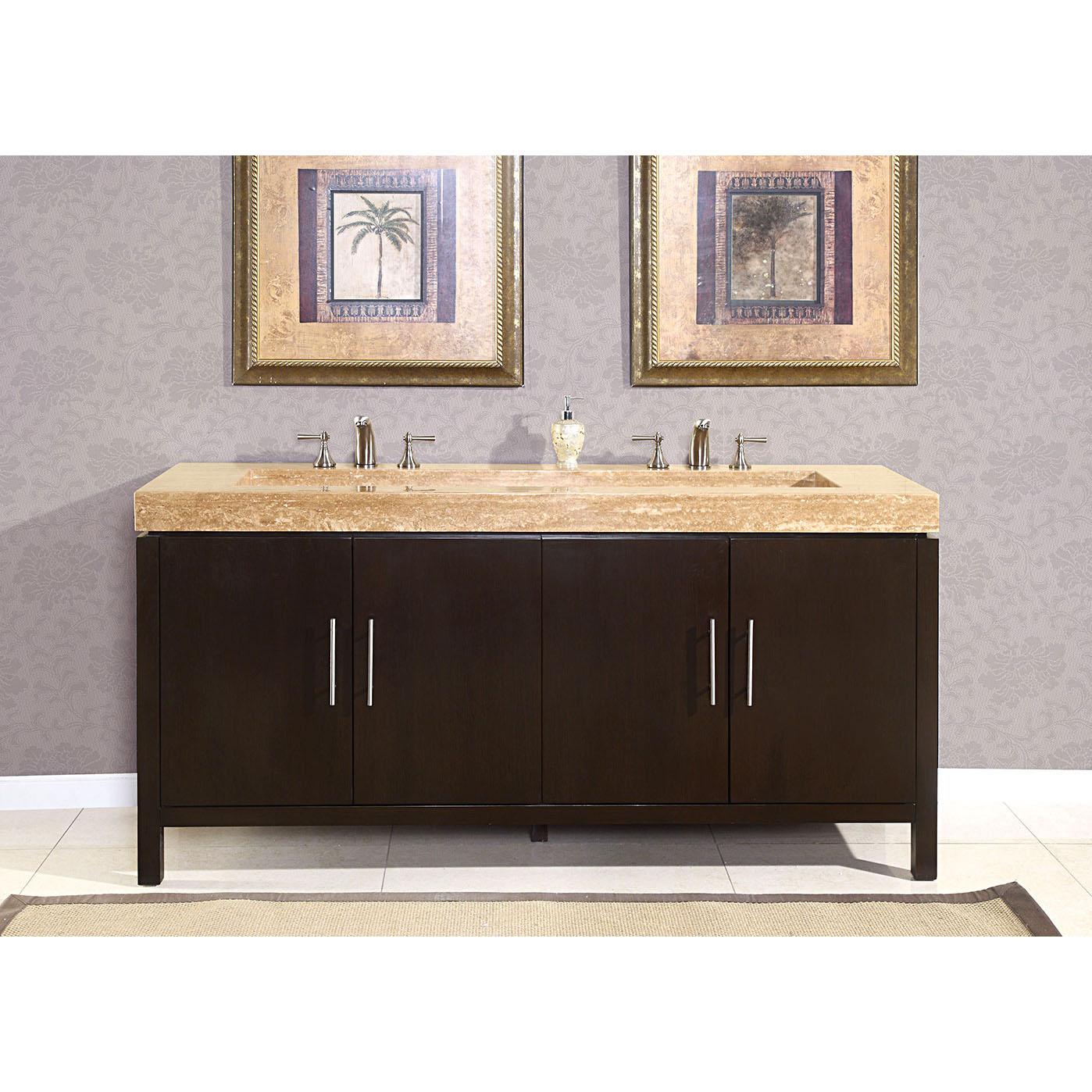 72-inch Modern Travertine Stone Top Integrated Sink Bathroom Double Vanity Cabinet