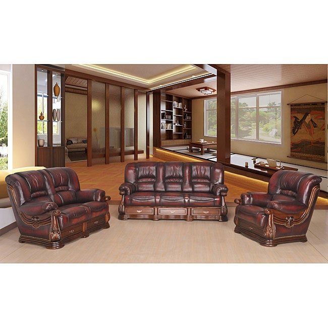 Jefferson Classic 3-piece Top Grain Leather Sofa Set