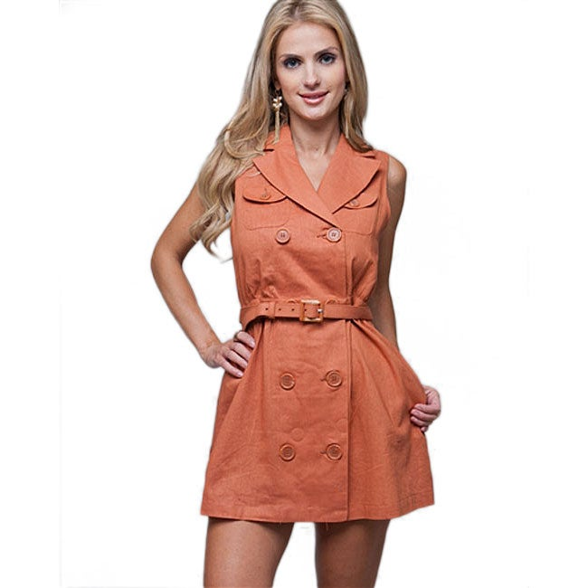 Stanzino Women's Button Front Belted Shirt Dress