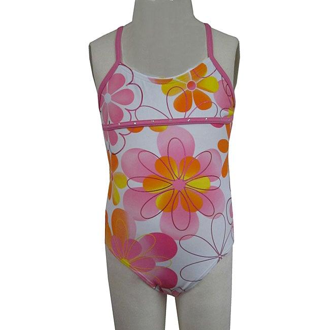 Lisabelle Girls' 'Uptown Girl' 1-piece Flower Swimsuit