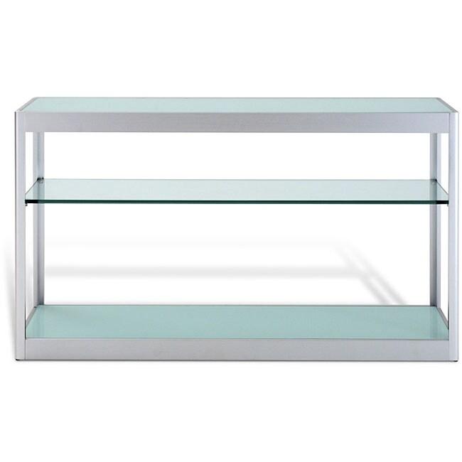 J&K White Glass Brushed Aluminum Console Table