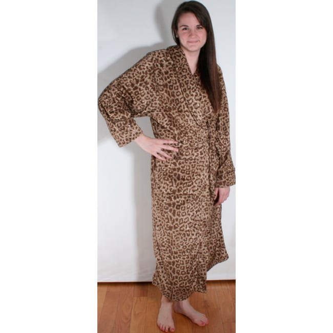 Women's Raquel Cheetah Printed Microplush Bath Robe