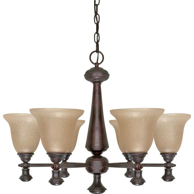 Mericana - 6 Light Chandelier - Old Bronze Finish with Amber Water Glass