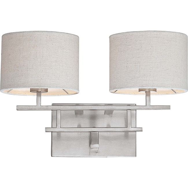 Percussion Brushed Nickel 2-light Vanity Fixture