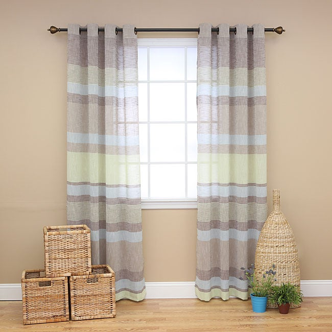 Horizontal Stripe Faux Linen Grommet Curtain Pair (84 inches)