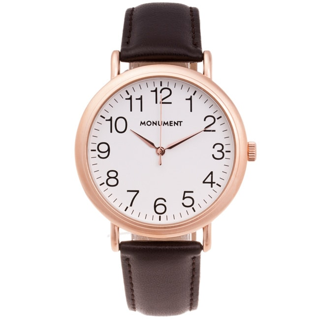 Monument Men's Synthetic Leather Strap Rose-goldtone Analog Watch