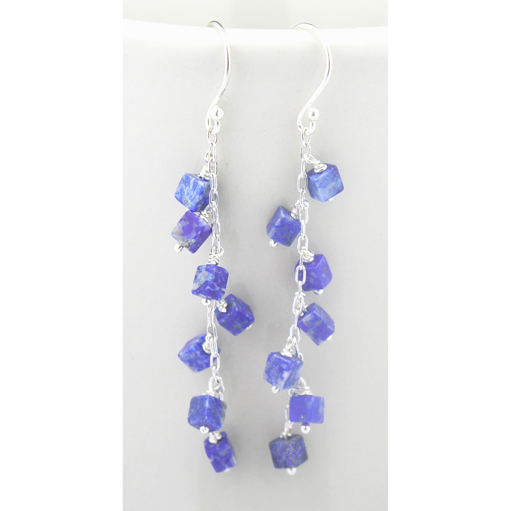 Sterling Silver Blue Square Lapis Earrings (Mexico)