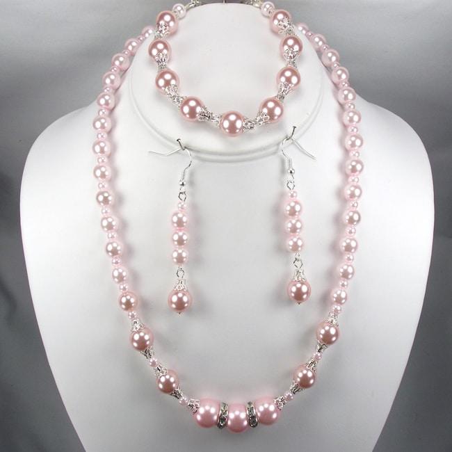 Pink pearl wedding jewelry set overstock shopping the for Pink wedding jewelry sets