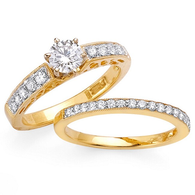 14k Yellow Gold 1 1/5ct TDW Diamond Bridal Ring Set (G-H, SI1-SI2)