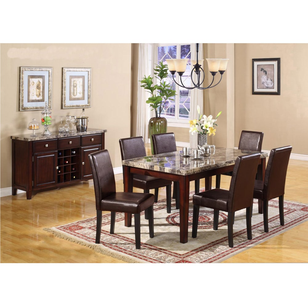 Radian Faux Emperor Dark Brown Marble 7 Piece Dining Set with Brown Chair