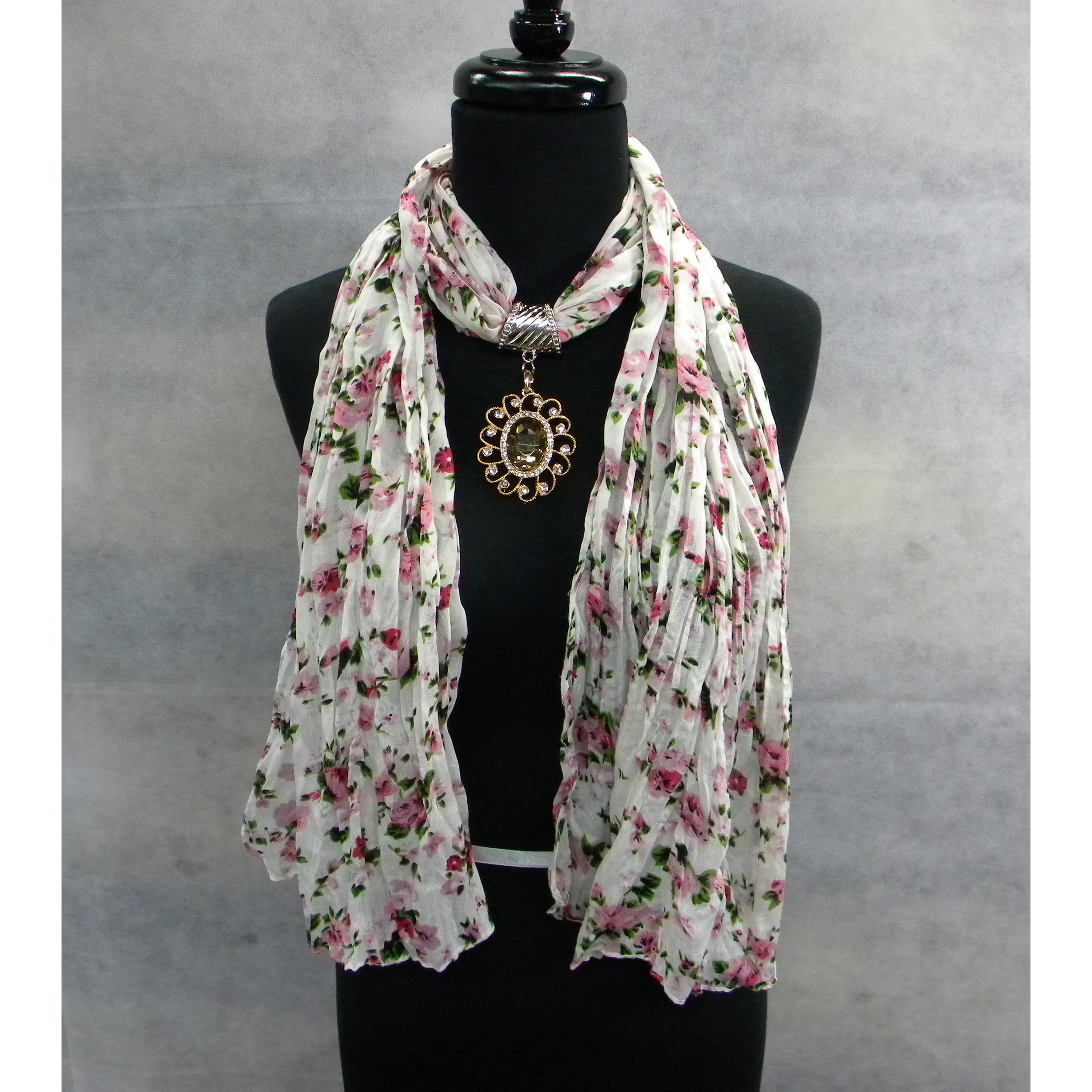Multi-colored Floral Print Jewelry Scarf