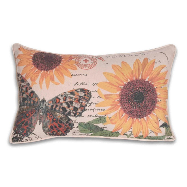French Flower and Butterfly Postcard 12x20-inch Pillow