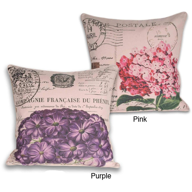 French Pink Hydrangea Square Pillow