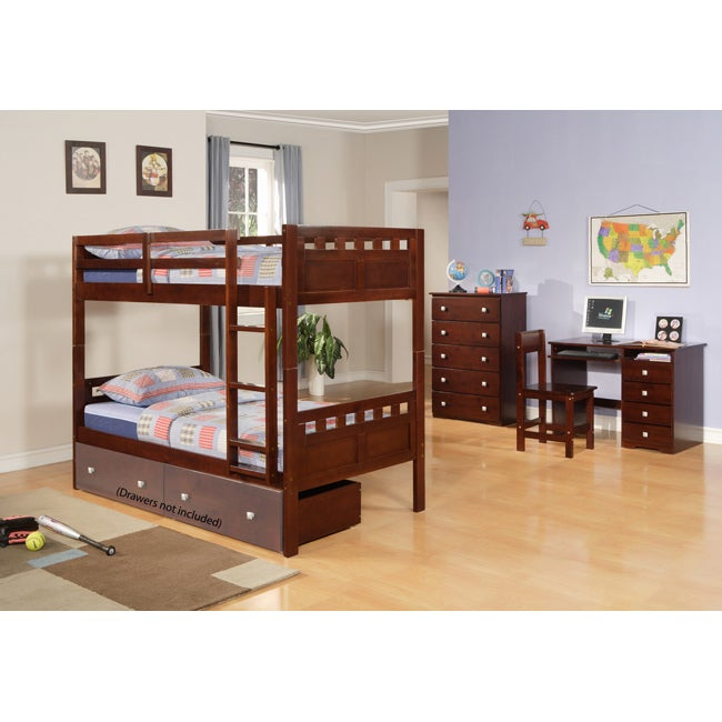 Donco Kids Deco Twin / Twin Bunk Bed in Cappuccino