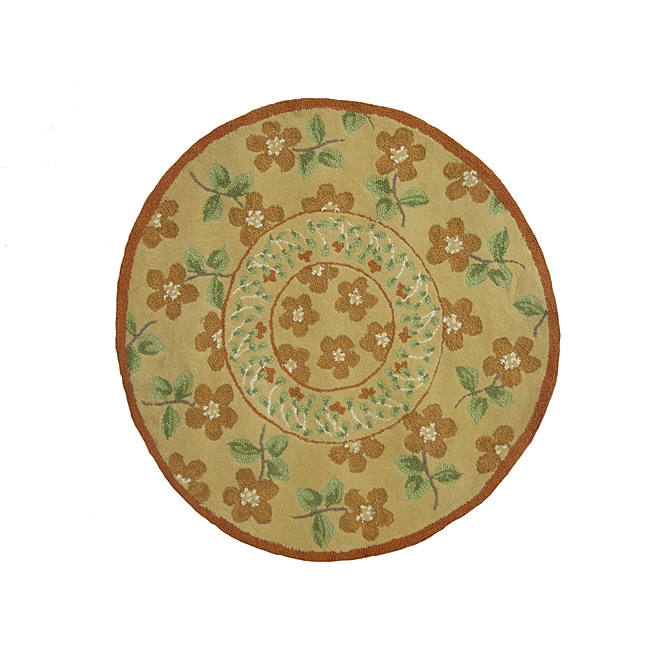 Rustic Gold/ Green Rug (3' Round)