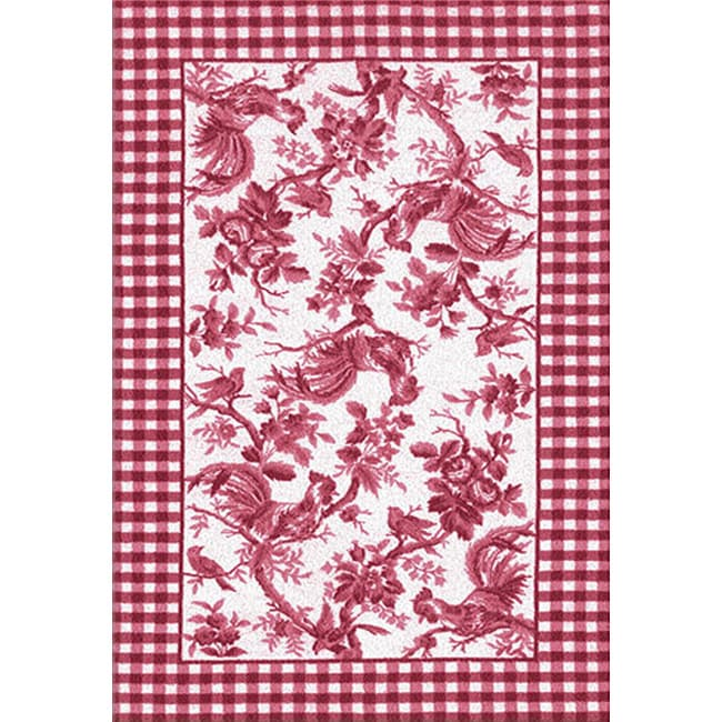 Black And White Toile Rug: Rooster Toile Red Area Rug (7'6 X 9'6)